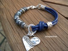 Reserved Sterling Silver Heart Leather and Spectrolite