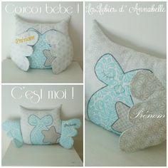 Coussin doudou Chouette / Hibou Coucou bébé ! Tissu  argenté  PERSONNALISABLE