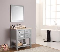 Avanity Brooks (single) 31-Inch Chilled Gray Transitional Bathroom Vanity with Top Option