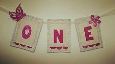 Baby girl birthday 1st birthday bunting ONE banner party highchair banner