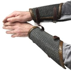 Imitation chainmail and leather design bracers for Larp, TV, Film, Theatre and Cosplay Larp Armor, Cosplay Armor, Fantasy Armor, Body Armor, Chain Mail, Leather Design, Medieval, Brown Leather, Skyrim