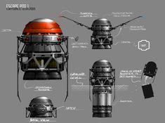 Escape Pod by on DeviantArt Game Concept, Concept Art, Sci Fi Environment, Photo Texture, Prop Design, Futuristic Technology, Space Program, Design Language, Sci Fi Art
