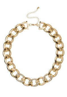 Gold-colored Chunky Chain Necklace with Rhinestones (original price, $18) available at #Maurices