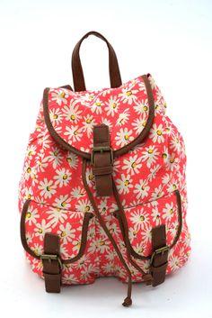 Γυναικείο σακίδιο πλάτης με σχέδιο μαργαρίτες. Κλείνει με μαγνητικό κούμπωμα και το ύφασμα του είναι εξαιρετικής ποιότητας canvas. Backpacks, Bags, Fashion, Handbags, Moda, Fashion Styles, Backpack, Fashion Illustrations, Backpacker