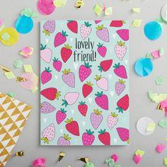Hermoso saludos de tarjeta - ilustrativo para un amigo - amigo tarjetas de felicitación - papelería moda - amigo y papelería - tarjeta de fresa