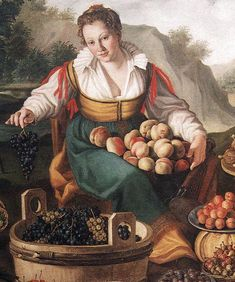 Italian fruit seller wears a front-fastening gown with ties or points for attaching sleeves, a green apron, and a chemise with a ruffled collar. Her uncovered hair is typical of Italian custom, c. 1580. Fruit and vegetable-sellers are often shown with more cleavage exposed than other women, whether reflecting a reality or an iconographic convention is hard to say.