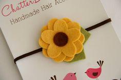 Sunflower newborn headband made from felt-- I could make this!