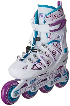 Roller Derby Girl's Stinger 5.2 Adjustable Inline Skate, Medium - Get caught up with the Stinger 5.2 Girls Inline. This skate is designed with a pull and tighten lace system and adjustable sizing that makes it easy for your young child that is on the go. Roller Derby Skate Corp has been the leader in producing skate products for over 80 years. We are America's ...