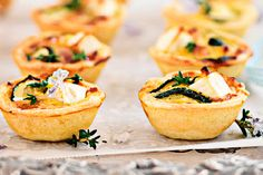 Zucchini, bacon and feta tartlets