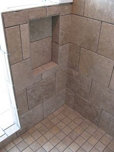 this bathroom remodel features sahara stone cairo brown 10x13 wall tile 13x13 floor shower baseshower