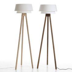 Lampadaire trépied en bois et coton blanc H 156 cm