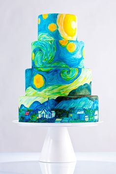 Starry Night (by Vincent Van Gogh) Cake