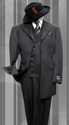 STACY-060 BLACK TONE ON TONE 3PC FASHION ZOOT SUIT AS SEEN IN GQ MAGAZINE