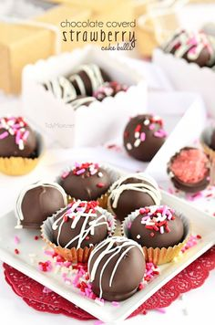 Chocolate Covered Strawberry Cake Balls