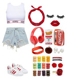 """""""#9"""" by lilipandicorn22 ❤ liked on Polyvore featuring Chicnova Fashion, adidas, Ladurée, Lime Crime, Moschino, Yves Salomon, New Look, Skinnydip, Fitbit and Kim Rogers"""