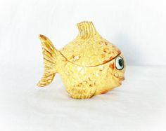 Vintage 70s Fish Trinket Box Jewelry Holder Ceramic Yellow Lidded Koi Goldfish....so cute!!