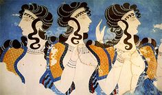 """""""Married women used long hair with long braids, as a sign of their marital status. In this mural painting, """"The Blue Ladies"""", from 1.600 BC are notorious these hairstyles."""" Taken from website The Hair In Ancient Times (II)"""