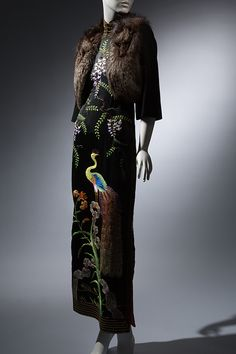 Qipao | black silk, fox fur, late 1930's