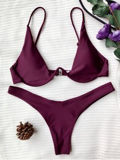 AD : Push Up Plunge Bathing Suit - MERLOT M   Sexy plunging collar thong bikini set features soft padding, underwire support, adjustable spaghetti straps and high cut design.  Swimwear Type: Bikini   Gender: For Women   Material: Nylon,Polyester,Spandex   Bra Style: Padded   Support Type: Underwire   Collar-line: Spaghetti Straps   Pattern Type: Solid   Waist: Low Waisted   Elasticity: Elastic