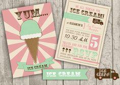 Ice Cream Birthday Invite by jaynesalentiny on Etsy,