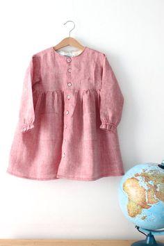 Italian preschool kindergarten everyday apron, 100% linen. Size 3 years. Only one piece. Ready to ship.