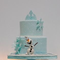 Cake is covered in fondant and then I sponged on 'snow' (royal icing).  The cake board is covered in hard candy to look like ice (...