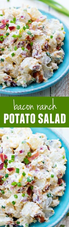 Bacon Ranch Potato Salad will be the BEST side dish you make this summer!This Bacon Ranch Potato Salad will be the BEST side dish you make this summer! Bacon Ranch Potato Salad, Bacon Ranch Potatoes, Roasted Potatoes, Funeral Potatoes, Skillet Potatoes, Bacon Potato, Bacon Salad, Potato Dishes, Food Dishes