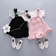 2019 new female baby bib suit girls summer short sleeve two-piece summer baby suit Girls Summer Outfits, Cute Outfits For Kids, Girl Outfits, Baby Girl Fashion, Toddler Fashion, Baby Fashion Clothes, Newborn Fashion, Striped Top Outfit, Baby Suit