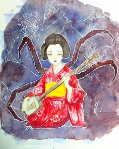 This is the illustration of the tale of Kumo Onna (spider woman). It was very difficult to look to the spider legs references because I'm arachnophobic but I really enjoyed drawing this character!  #クモ女 #spiderwoman #japanesetales #painting #drawings #traditionalart #watercolor #pentel #spider #kimono #shamisen #diuryarts