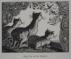 'Cats at the Window', 1929 by Wanda Gag, woodcut illustration, Cats at the Window. Signed lower right. and final state. Pokerface, Art Students League, Black Ink Tattoos, National Gallery Of Art, Wood Engraving, Children's Book Illustration, Crazy Cats, Cat Art, Illustrators