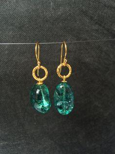 Green Quartz Earrings Quartz Earrings Green by MareeAngelique