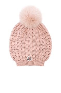 f980ed171dc Image 1 of Moncler Berretto Beanie in Light Pink Fur Pom Pom