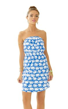 Lilly Pulitzer Windsor Strapless Pull-On Dress shown in Bay Blue Tusk In Sun Middle.