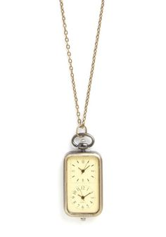 In the Zone Necklace. After saying tchau to your new clients in Brazil, you make your way to a downtown lunch meeting  but not before you consult the timepiece that adorns this charming necklace, and ring your sweetheart in Rome to share a brief, buonanotte. #gold #prom #modcloth