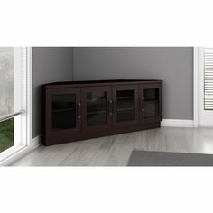 Furnitech - Contemporary Corner Tv Stand Media Console For Flat Screen And Audio Video Installations In A Wenge Finish - Tv Unit Furniture, Home Theater Furniture, Home Theater Setup, Best Home Theater, Home Theater Seating, Living Room Storage, New Living Room, Tv Unit Images, Tv Stands