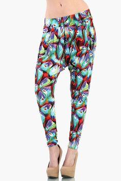 Peacock Harem Pants - Multi Color #OMGLeggings #HaremPants