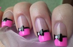 Pink with black bow