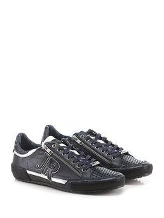 JOHN RICHMOND - Sneakers - Uomo - Sneaker in pelle micro forata con zip su ambo i lati e puntale forato. Suola in gomma, tacco 25. - BLU\BIANCO - € 259.00