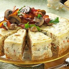 Gold and White Wedding. Buffet Dinner, Late Night Snack, Canapes, Appetizer. Mushroom and Bacon Cheesecake