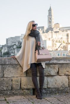 Magical Matera: beige poncho, gray oversized scarf, Stuart Weitzman gray Highland over the knee boots, Brahmin 'Brinley' satchel, neutral outfit with poncho and over the knee boots