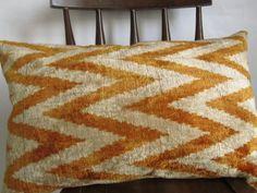 Ikat Velvet Pillow  15x24 inch Mustard Cream Velvet by asiapillow, $55.00