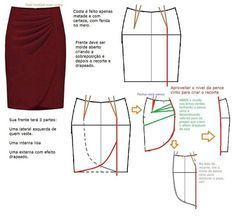 Drape-y skirt pattern Sewing Patterns Free, Clothing Patterns, Dress Patterns, Pattern Skirt, Diy Clothing, Sewing Clothes, Fashion Sewing, Diy Fashion, Sewing Hacks
