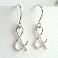Silver Ampersand Earrings - Minimal Jewelry, And Earrings, Minimalist Jewelry - 'You & Me'. €16.00, via Etsy.