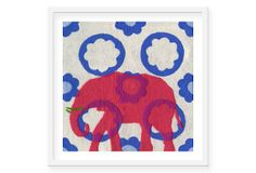 Maryanne Quinn, Pink Elephant Delft Tile  Made of felted wool