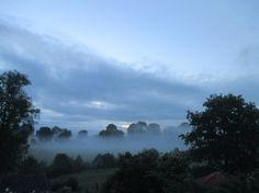 Photographed by Anthony Sargeant at 4.30 this morning the 14th June 2016 from the bedroom window of his Shropshire home. The early morning mist from last nights heavy rain clings to the water meadows of the River Corve below the house.