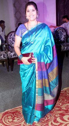 Renuka Shahane at the trailer launch #Marathi film 'Janiva'. #Bollywood #Fashion #Style #Beauty #Saree