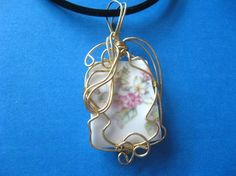 Broken china Limoge pendant wrapped with gold artist wire $34.99