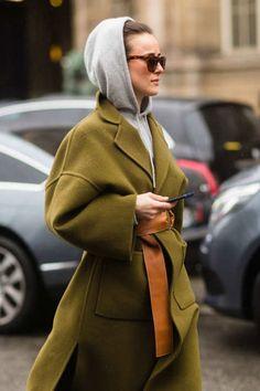 Hoodie, coat and sunglasses