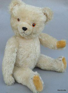 Hermann #TeddyBear White Mohair Plush Big 22in 56cm Growler Jointed no ID Vtg #Hermann AllOccasion