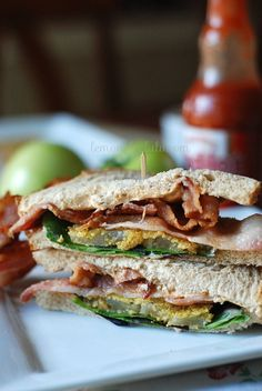 Fried Green Tomato BLT. My two favorite southern foods: fried green tomatoes and BLTs. Gotta try this once.